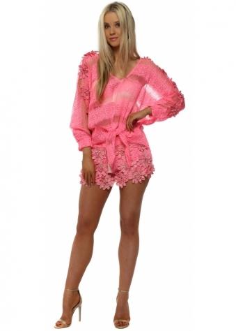 Hot Pink Floral Diamante Shorts & Top Set