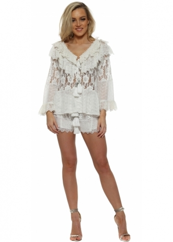 White Lace & Tassle Shorts & Top Set