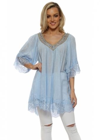 Baby Blue Cotton Lace Trimmed Kaftan Top