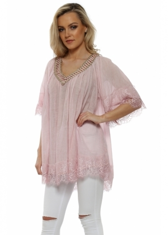 Baby Pink Cotton Lace Trimmed Kaftan Top