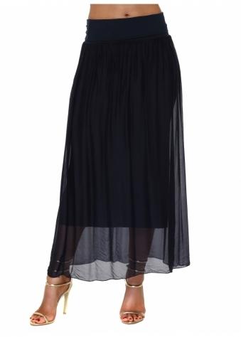 Navy Blue Silk Maxi Skirt With Deep Bandeau Waist