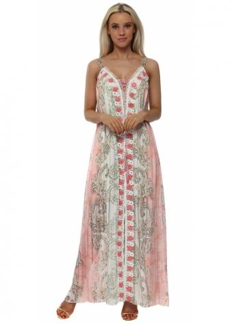 Pink & Mocha Print Floral Panel Maxi Dress