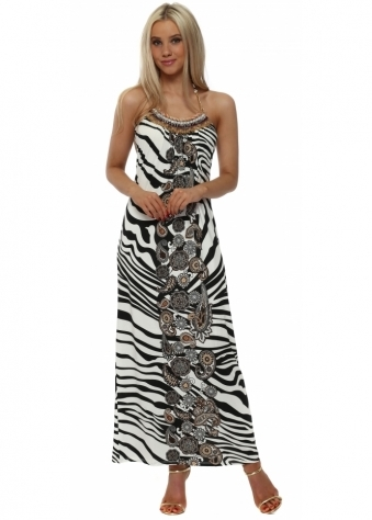 Zebra Print Beaded Halter Neck Maxi Dress