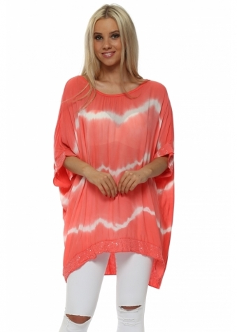 Coral & White Tie Dye Sequinned Top