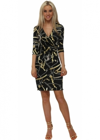 Black & Gold Chain Print Wrap Dress