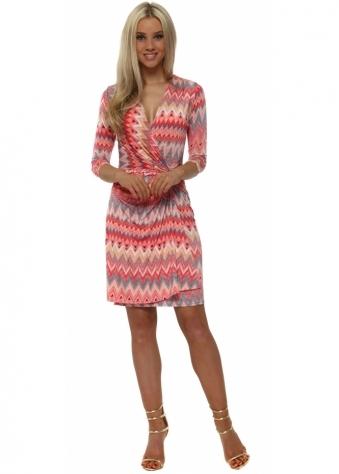 Coral Zig Zag Print Long Sleeve Wrap Dress