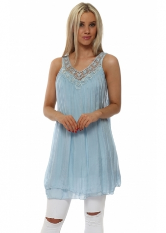 Blue Silk Layered Pearl Embroidered Tunic Vest