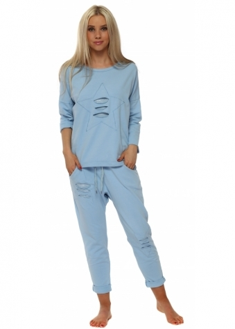 Baby Blue Distressed Sequin Star Lounge Suit