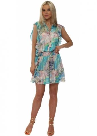 Aqua & Blue Elasticated Waist Shirt Dress