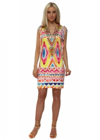 Neon Aztec Print Sequinned Neckline Tassel Dress