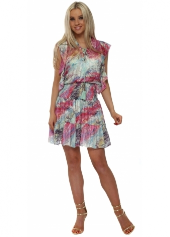 Pink & Lilac Elasticated Waist Shirt Dress