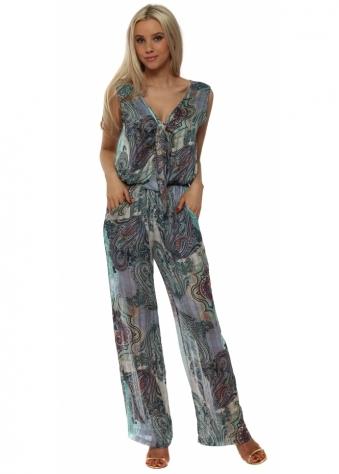 Blue Paisley Print Tie Front Jumpsuit