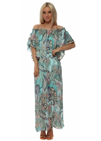 Aqua Print Off The Shoulder Maxi Dress