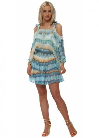 Aqua Aztec Cold Shoulder Pom Pom Dress