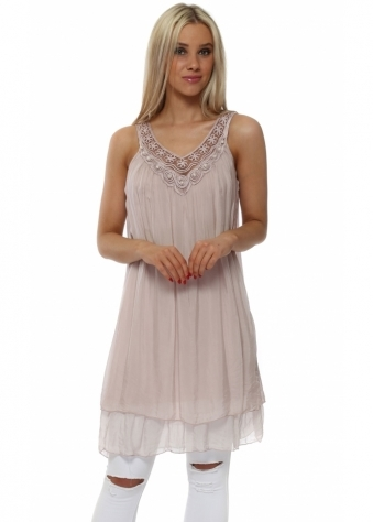 Dusky Pink Silk Layered Pearl Embroidered Tunic Vest