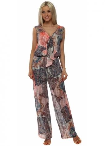 Pink Paisley Print Tie Front Jumpsuit