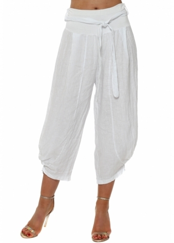 White Linen Belted Relaxed Trousers
