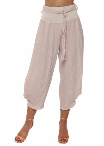 Pink Linen Belted Relaxed Trousers