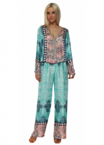 Turquoise Silky Sequinned Diams Jumpsuit