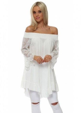 White Off The Shoulder Lace Sleeve Top