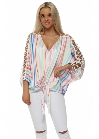 Rainbow Stripe Satin Tie Dye Ladder Sleeve Top