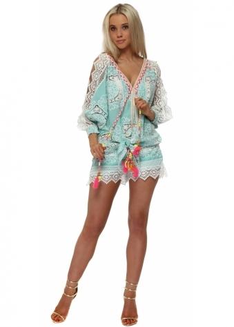 Aqua Crochet Shorts & Top Set
