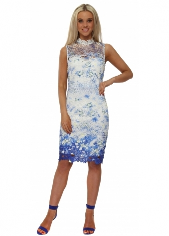 Blue Floral Crochet Lace Sleeveless Pencil Dress
