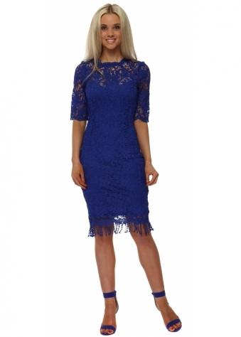Cobalt Blue Crochet Lace Pencil Dress