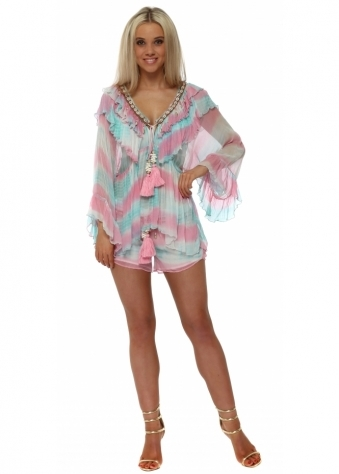 Pink & Aqua Silk Shell Embellished Tie Dye Shorts Set
