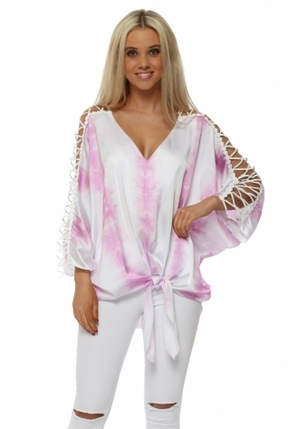 Pink Satin Tie Dye Ladder Sleeve Top