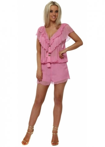 Pink Ruffled Jewelled Playsuit