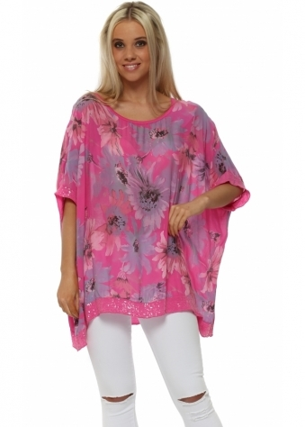 Hot Pink Floral Loose Fit Sequinned Top