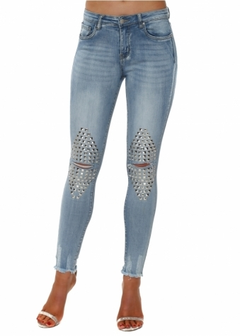 Blue Stretch Fit Ripped Studded Knee Jeans