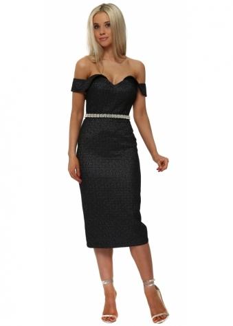 Black Pearl Off The Shoulder Pencil Dress