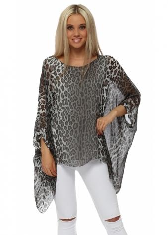 Brown Leopard Print Silk Loose Fit Top