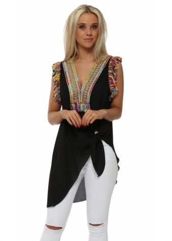 Braided Tassels Black Sleeveless Tie Top