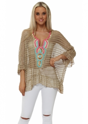 Volant Mocha Crochet Lace Beaded Top