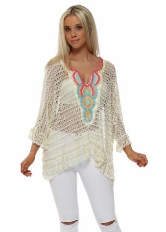 Volant Cream Crochet Lace Beaded Top
