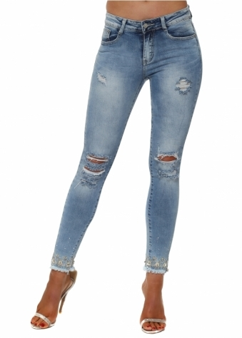 Stretch Fit Ripped Jeans With Jewelled Ankles