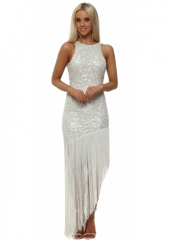White Sequinned Asymmetric Tassel Dress
