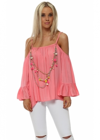 Coral Frilly Cold Shoulder Top With Tassel Necklace