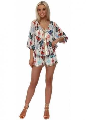 Cream Multi Inca Print Sequin Shorts & Top