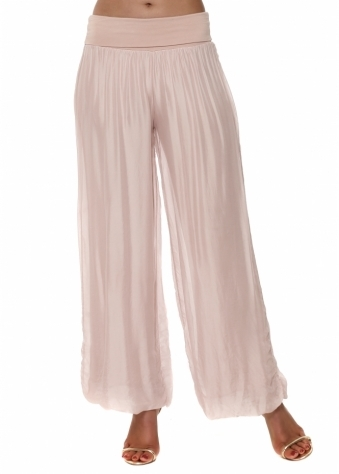 Baby Pink Silk Palazzo Trousers