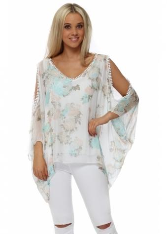 White Silk Floral Print Cold Shoulder Top