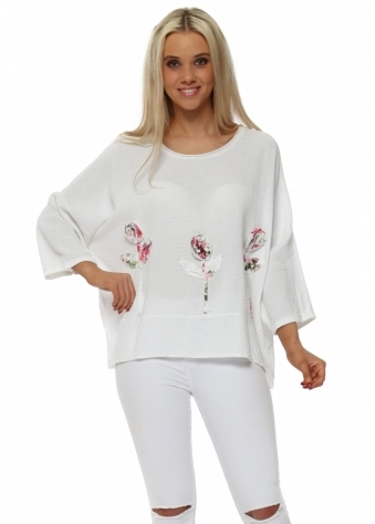 White Linen Rose Embroidered Cropped Top