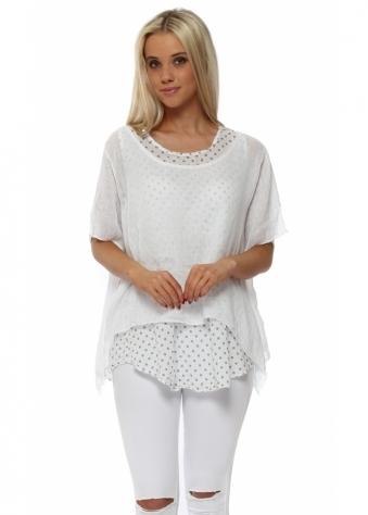 White Linen Layered Polka Dot Top