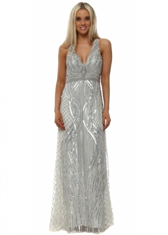 Sparkling Silver Sequinned Maxi Dress