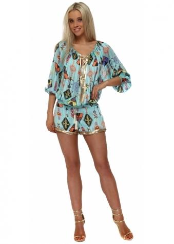 Turquoise Multi Inca Print Sequin Shorts & Top