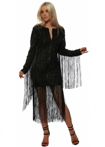 Black Zip Front Beaded Tassel Dress