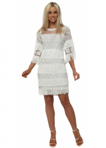 White Pearl & Sequin Embellished Tassel Dress